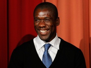 Clarence Seedorf is pictured on stage during the Laureus European Workshop and Project Visit held at Almere Echnaton school on December 12, 2013