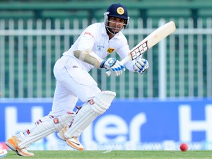 Sri Lankan batsman Kumar Sangakkara plays a shot during the opening day of the third and final cricket Test match between Pakistan and Sri Lanka at the Sharjah International Cricket Stadium in the Gulf emirate of Sharjah on January 16, 2014