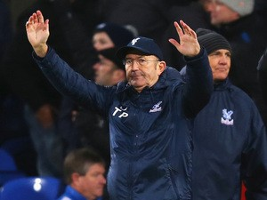 Crystal Palace manager Tony Pulis celebrates victory against Stoke City on January 18, 2014