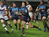 Montpellier's Francois Trinh Duc runs with the ball during the French Top 14 rugby union match between Montpellier and Bordeaux, on January 25, 2014
