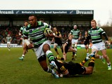 Sailosi Tagicakibau of London Irish scores their first try during the LV=Cup match between London Wasps and London Irish at Adams Park on January 25, 2014