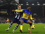 West Brom's Matej Vydra and Everton's Sylvain Distin in action during their Premier League match on January 20, 2014