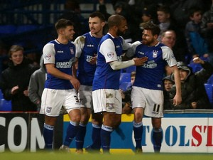 Paul Anderson celebrates with his teammates after scoring to make it 2-0 to Ipswich during the Sky Bet Championship match against Reading on January 25, 2014