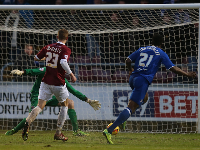 Armand Gnanduillet of Chesterfield scores his sides third goal during the Sky Bet League Two match between Northampton Town and Chesterfield at Sixfields Stadium