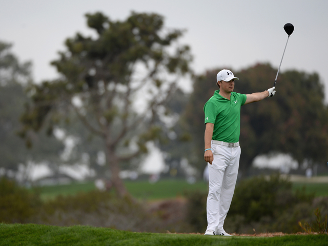 Jordan Spieth hits a tee shot on the 9th hole during the second round of the Farmers Insurance Open on Torrey Pines South on January 24, 2014