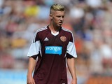 Adam King of Hearts during a pre season friendly match between Dunfermline Athletic and Hearts at East End Park on July 13, 2013