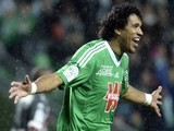 Saint-Etienne's player Brandao celebrate his team's win during the French L1 football match against Valenciennes on February 1, 2014