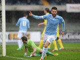 Antonio Candreva of SS Lazio celebrates after scoring his openig goal during the Serie A match between AC Chievo Verona and SS Lazio at Stadio Marc'Antonio Bentegodi on February 2, 2014