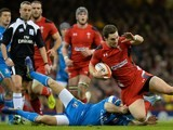 Wales' wing George North (R) is tackled by Italy's wing Angelo Espostio (L) during the Six Nations rugby union international tournament between Wales and Italy at the Millennium Stadium on February 1, 2014