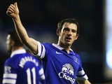 Leighton Baines of Everton celebrates victory after the Barclays Premier League match between Everton and Norwich City at Goodison Park on January 11, 2014