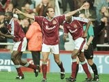 Paolo Di Canio celebrates scoring for West Ham United on October 03, 1999.