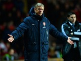 Arsene Wenger manager of Arsenal reacts during the Barclays Premier League match between Southampton and Arsenal at St Mary's Stadium on January 28, 2014
