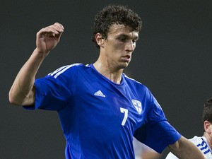 Finland's Alexey Eremenko in action against Israel during an international friendly match on February 6, 2013