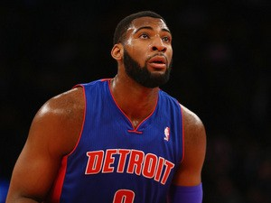 Andre Drummond of the Detroit Pistons takes a foul shot against the New York Knicks during their game at Madison Square Garden on January 7, 2014