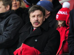 Arsenal's US majority shareholder Stan Kroenke takes his seat before the English Premier League football match between Arsenal and Aston Villa at the Emirates Stadium in London on February 23, 2013