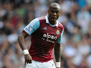 Guy Demel of West Ham in action during the Barclays Premier League match between Tottenham Hotspur and West Ham United at White Hart Lane on October 6, 2013
