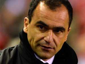 Everton's Spanish manager Roberto Martinez arrives for the English Premier League football match between Liverpool and Everton at the Anfield stadium in Liverpool, northwest England, on January 28, 2014