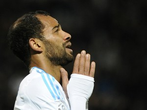 Marseille's Tunisian forward Saber Khalifa reacts after missing a goal during the French L1 football match Olympique of Marseille (OM) versus Nantes at the Velodrome stadium in Marseille, southern France, on December 6, 2013