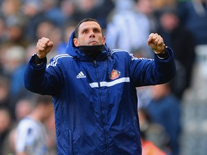 Sunderland manager Gus Poyet celebrates after the Barclays Premier League match between Newcastle United and Sunderland at St James' Park on February 1, 2014