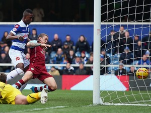 Modibo Maiga of Queens Park Rangers scores during the Sky Bet Championship match between Queens Park Rangers and Burnley at Loftus Road on February 1, 2014