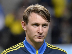 Sweden's midfielder Kim Kallstrom looks on prior to the FIFA 2014 World Cup group C qualifying football match Sweden vs Germany on October 15, 2013