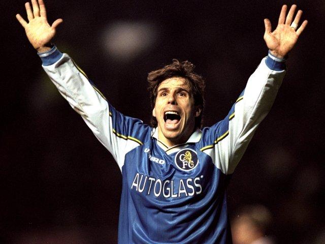 Gianfranco Zola celebrates scoring against Manchester United on December 16, 1998.