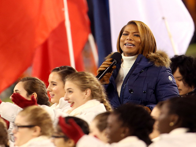 Queen Latifah sings 'America the Beatiful' prior to the Seattle Seahawks taking on the Denver Broncos in Super Bowl XLVIII at MetLife Stadium on February 2, 2014