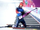 Amanda Lightfoot of Great Britain shoots during a Biathlon training session ahead of the Sochi 2014 Winter Olympics at Laura Cross-Country Ski and Biathlon Center, Mountain Cluster on February 3, 2014