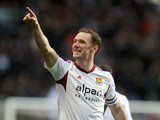 Kevin Nolan of West Ham United celebrates after scoring the first goal of the game for his side during the Barclays Premier League match between Aston Villa and West Ham United at Villa Park on February 8, 2014