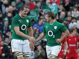 Ireland's Chris Henry celebrates with teammate Devin Toner after scoring the first try against Wales during their Six Nations match on February 8, 2014