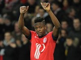 Lille's Divock Origi celebrates after scoring the opening goal against Sochaux during their Ligue 1 match on February 8, 2014