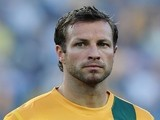 Australia's captain Lucas Neill listens to the national anthem prior to the football friendly against Costa Rica on November 19, 2013
