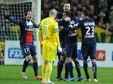 PSG's Zlatan Ibrahimovic (C) celebrates with his teammates after scoring a goal during the French League Cup semi-final football match against Nantes on February 4, 2014