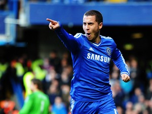 Eden Hazard of Chelsea celebrates scoring during the Barclays Premier League match between Cheslea and Newcastle United at Stamford Bridge on February 8, 2014