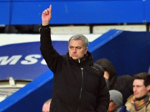 Chelsea's Portuguese manager Jose Mourinho gestures during the English Premier League football match between Chelsea and Newcastle United at Stamford Bridge in west London on February 8, 2014
