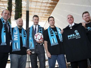 Commissioner Don Garber, David Beckham and Mayor Carlos Gimenez attends a press conference to announce their plans to launch a new Major League Soccer franchise on February 5, 2014