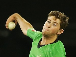 James Muirhead of the Stars bowls to Tim Paine of the Hurricanes during the Big Bash League Semi Final match on February 4, 2014