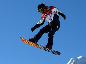 Jenny Jones of Great Britain practices during training for Snowboard Slopestyle at the Extreme Park at Rosa Khutor Mountain on February 5, 2014