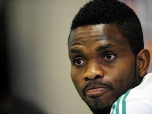 Nigeria's national football team defender Joseph Yobo looks on during a press conference in Rustenburg on February 1, 2013