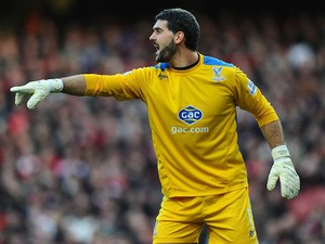 Julian Speroni of Crystal Palace in action during the Barclays Premier League match between Arsenal and Crystal Palace at Emirates Stadium on February 2, 2014