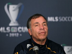 Head Coach Bruce Arena of the Los Angeles Galaxy speaks at the 2012 MLS Cup Team Press Conference at The Home Depot Center on November 30, 2012