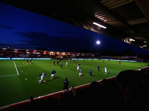 A general view as Everton players warm up prior to the Budweiser FA Cup fourth round match between Stevenage and Everton at the Lamex Stadium on January 25, 2014