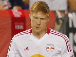 Markus Holgersson of the New York Red Bulls plays the ball against the Houston Dynamo during the match at Red Bull Arena on August 10, 2012