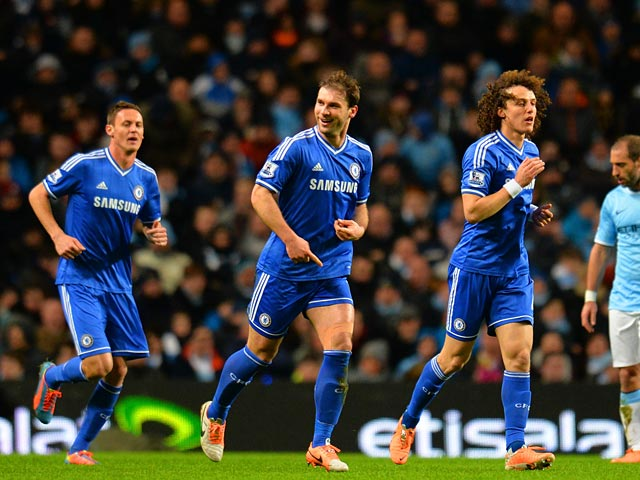 Chelsea's Branislav Ivanovic celebrates after scoring the opening goal against Manchester City during their Premier League match on February 3, 2014