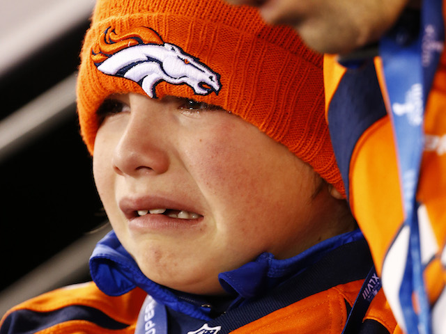 A young Denver Broncos fan pictured at half time of the Super Bowl on February 2, 2014
