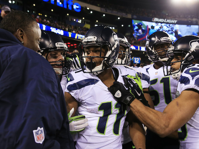 Wide receiver Percy Harvin #11 of the Seattle Seahawks celebrates his 2nd half kickoff return during the third quarter of Super Bowl XLVIII on February 2, 2014