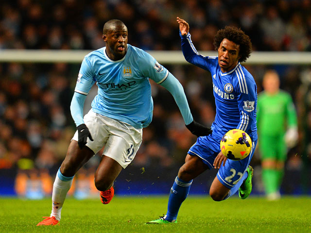 Chelsea's Willian and Manchester City's Yaya Toure in action during their Premier League match on February 3, 2014