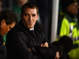 Manager Brendan Rodgers of liverpool looks on during the Barclays Premier League match between Fulham and Liverpool at Craven Cottage on February 12, 2014