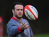 Wales centre Jamie Roberts in action during Wales training ahead of their RBS Six Nations match against Italy on saturday, at the Vale hotel on January 28, 2014