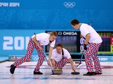 Torger Nergaard of Norway releases the stone during the Curling Men's Round Robin match between Great Britain and Norway on day 9 of the Sochi 2014 Winter Olympics at Ice Cube Curling Center on February 16, 2014